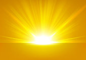 Golden Rays rising on bright background