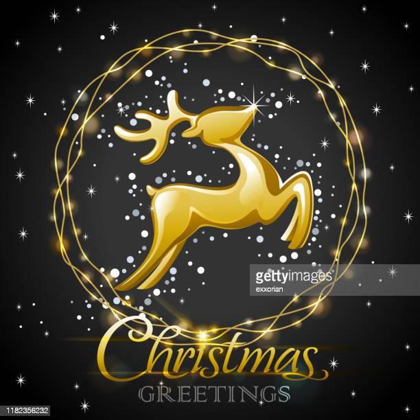 golden reindeer decoration with christmas lights - blink stock illustrations, clip art, cartoons, & icons