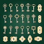 Golden retro keys and keyholes big set.