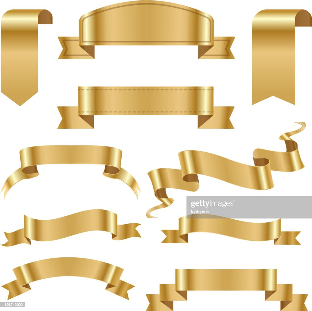 Golden ribbon tape banner flag bow classic glossy scroll vector illustration