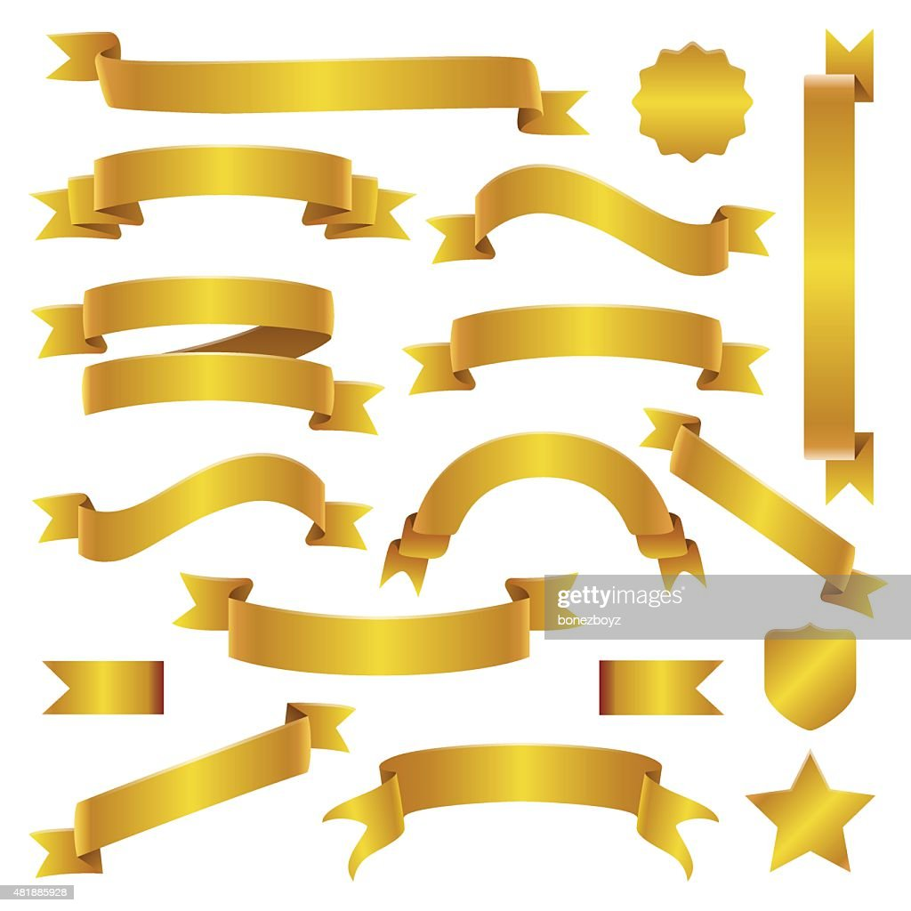 Golden Ribbons and Banners Set