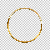 Golden ring isolated on transparent background. Vector golden frame.