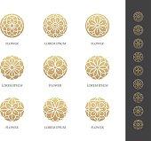 Golden round flower icon set