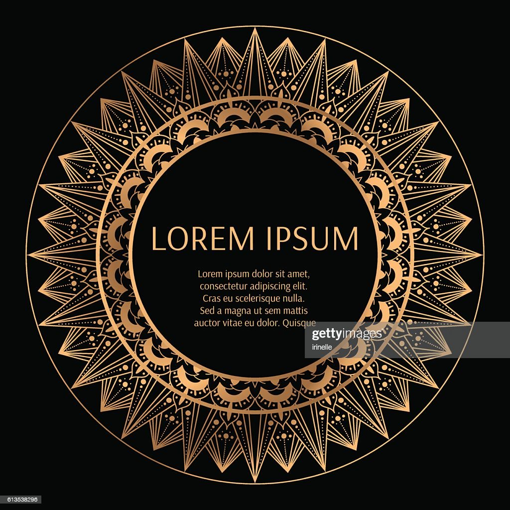 Golden round frame with black background vector