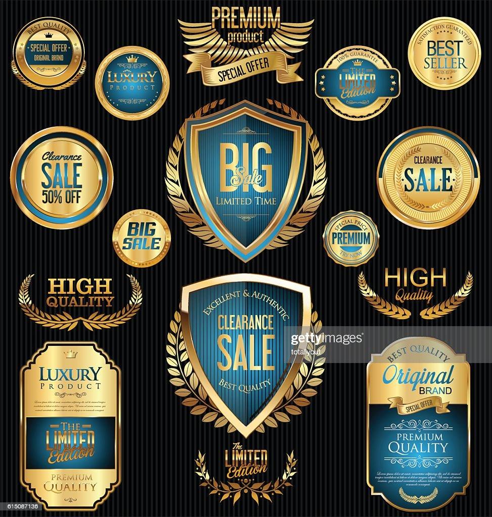 Golden sale badges and labels retro vintage collection