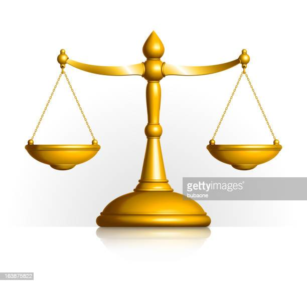 ilustraciones, imágenes clip art, dibujos animados e iconos de stock de balanzas de la justicia de oro sobre fondo blanco - balanzas de la justicia