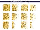 Golden sequins texture. Set Brush stipple gold pattern for design.