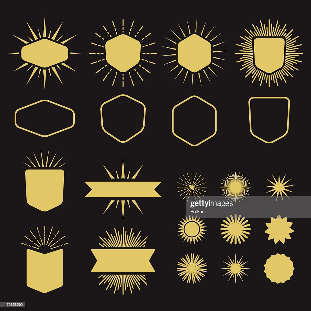 Golden set of silhouette design elements