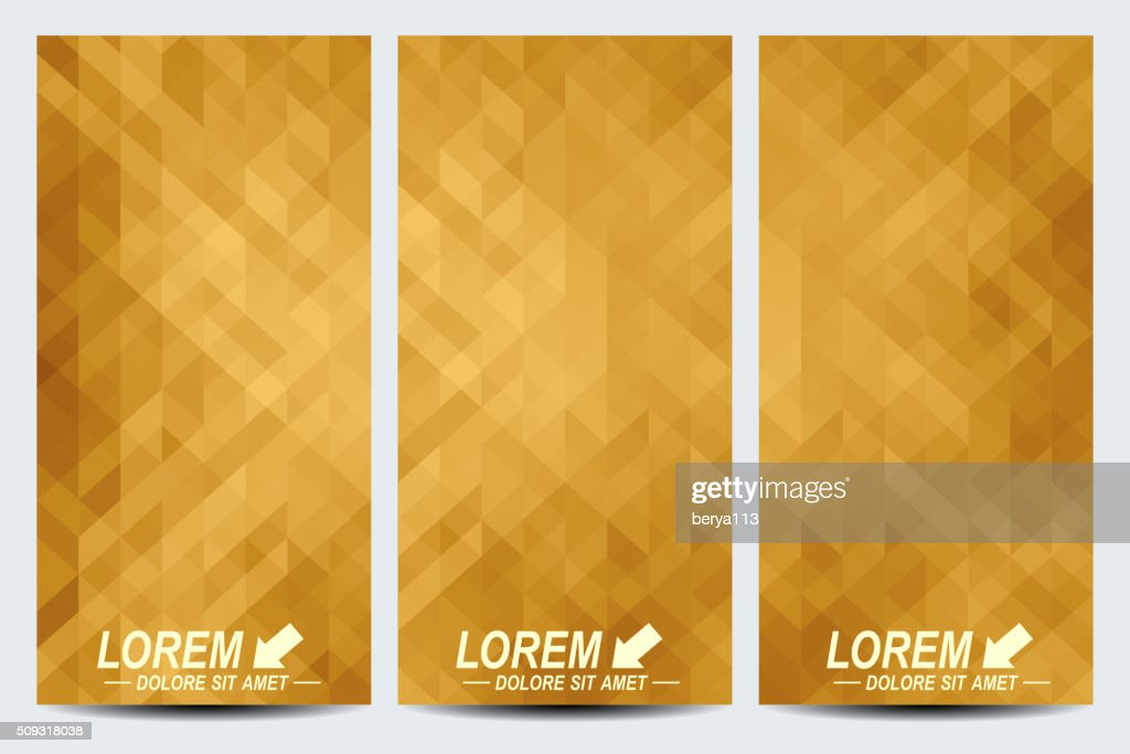 Golden set of vector flyers. Background with gold triangles. Flyer