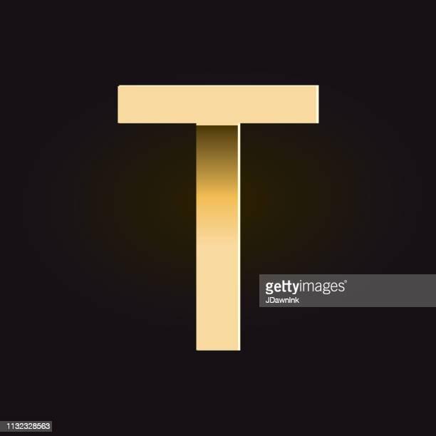 ilustrações de stock, clip art, desenhos animados e ícones de golden shadows alphabet capital letter - letra t