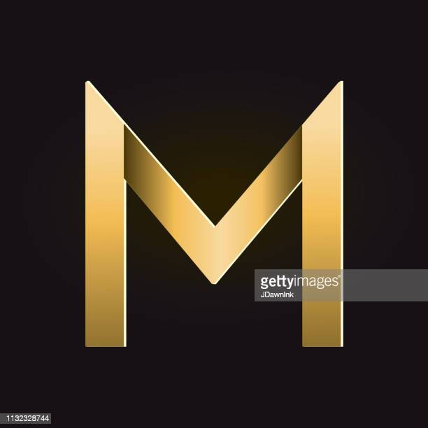 golden shadows alphabet capital letter - letter m stock illustrations, clip art, cartoons, & icons