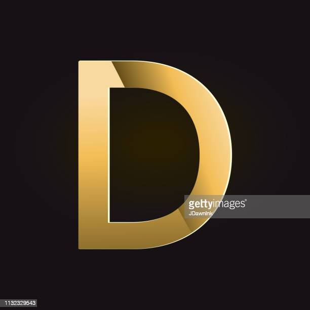golden shadows alphabet capital letter - letter d stock illustrations, clip art, cartoons, & icons