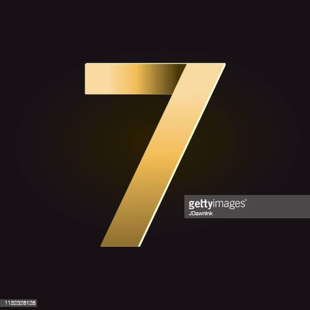 黄金の影のアルファベット番号 - 数字の7点のイラスト素材/クリップアート素材/マンガ素材/アイコン素材