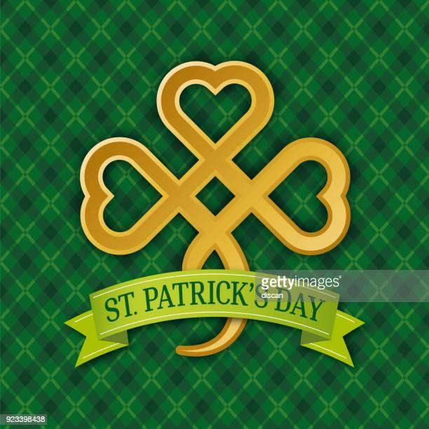 黄金のシャムロック。緑の背景にパトリックの日シンボル