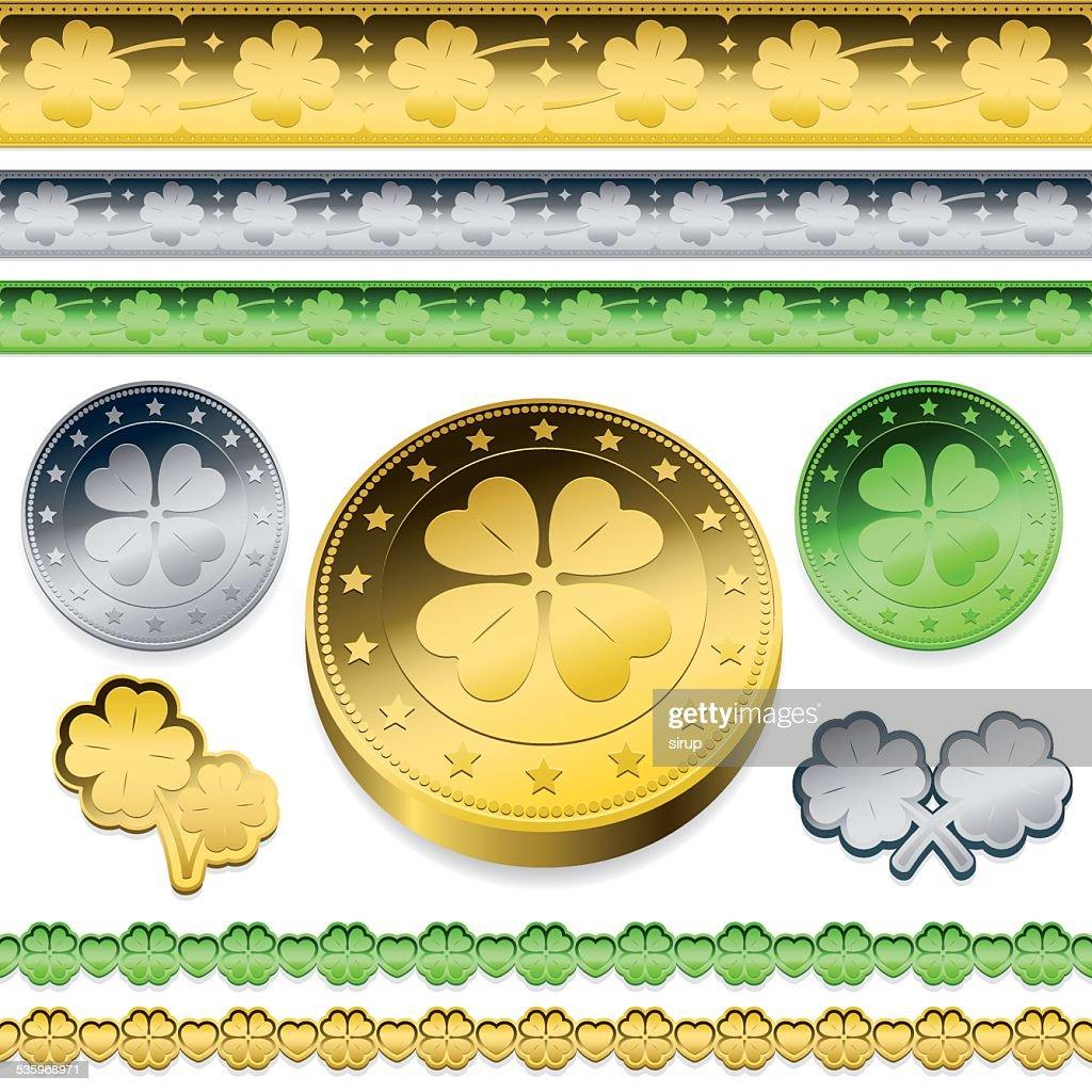 golden shamrock token coins set : Vector Art
