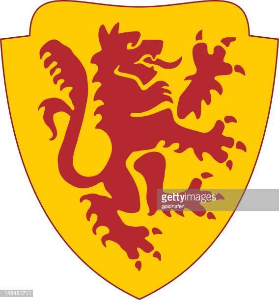 golden shield with red lion - coat stock illustrations