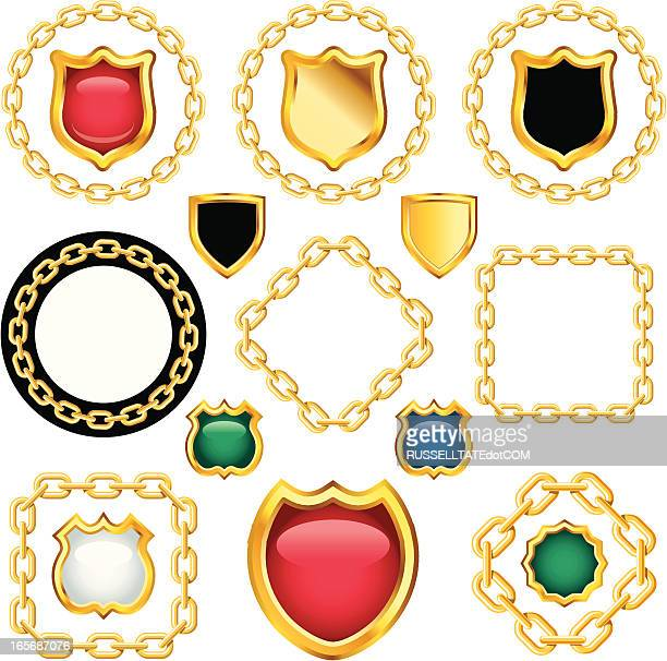 golden shields with chains - necklace stock illustrations, clip art, cartoons, & icons