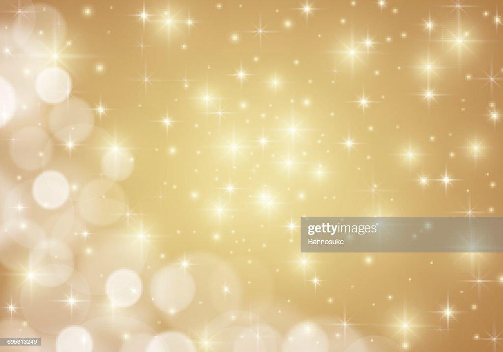 Golden shiny lights star background