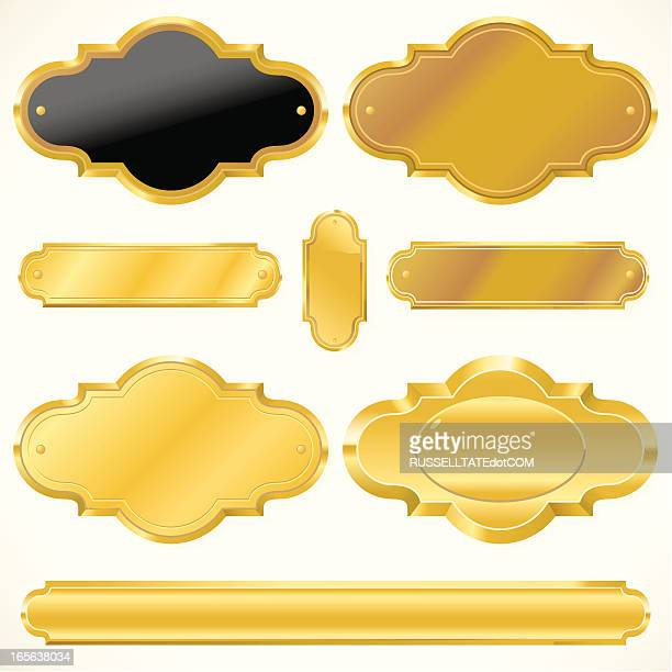 golden sign - award plaque stock illustrations, clip art, cartoons, & icons