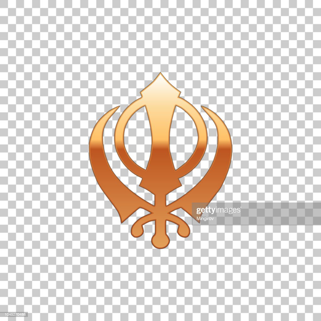 Golden Sikhism religion Khanda symbol isolated object on transparent background. Khanda Sikh symbol. Flat design. Vector Illustration