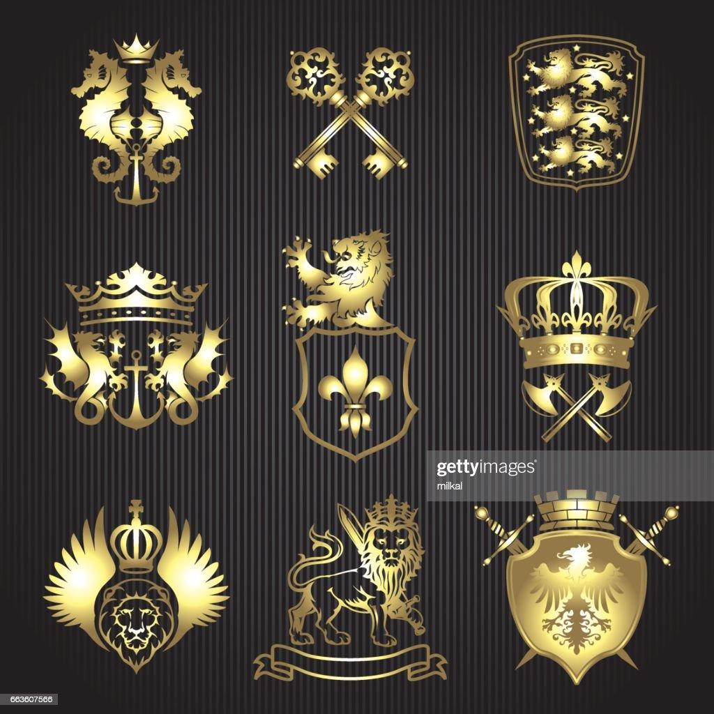 Golden silhouette mixed heraldry set