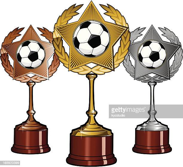 golden silver and bronze soccer trophies - second place stock illustrations