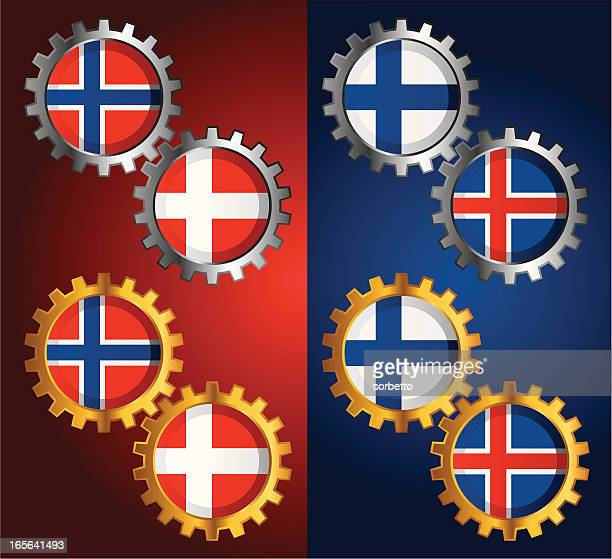 Golden & Silver Gear with National Flag