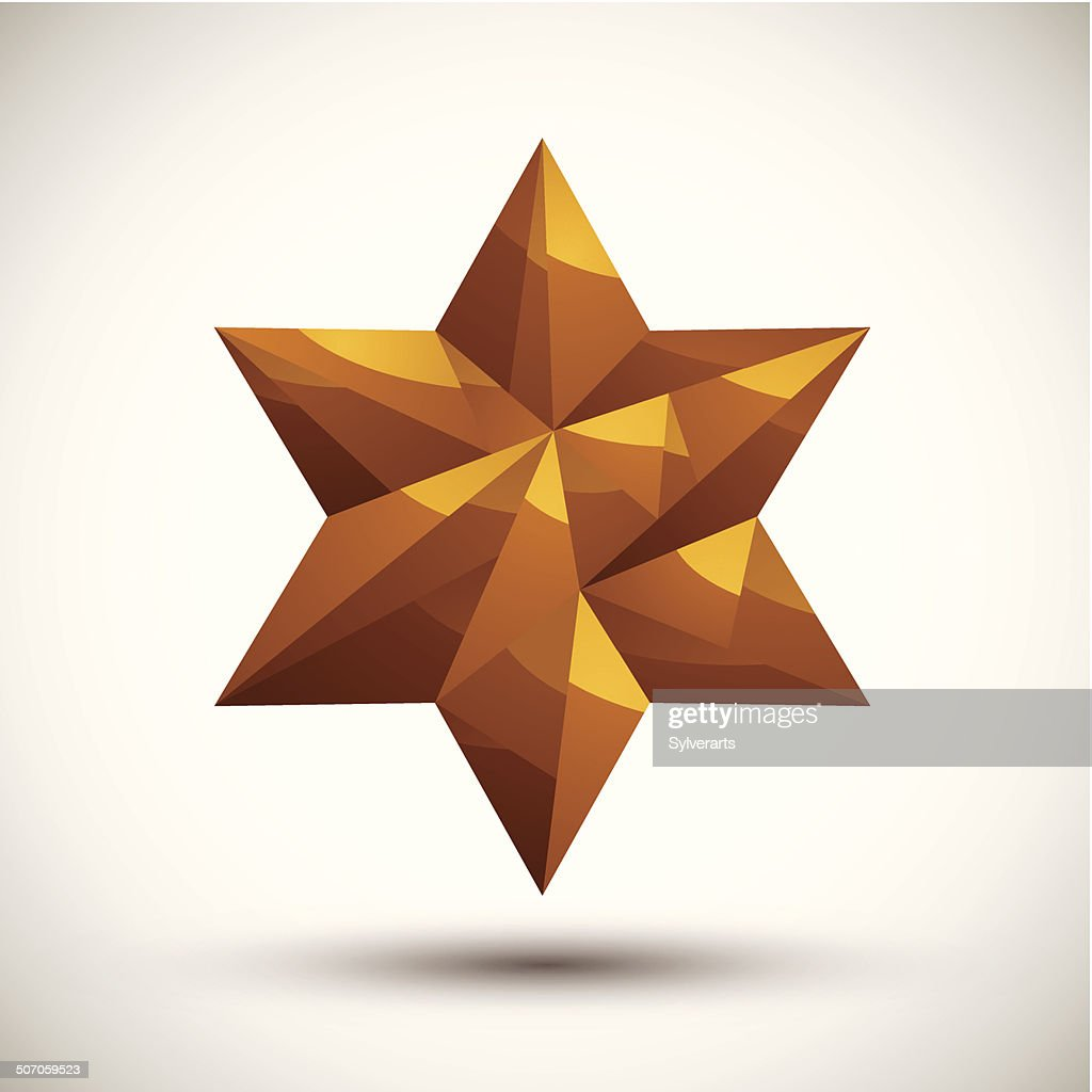 Golden six angle star geometric icon,3d modern style
