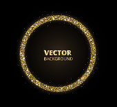 Golden sparkle background, glitter circle frame. Black and gold vector dust.
