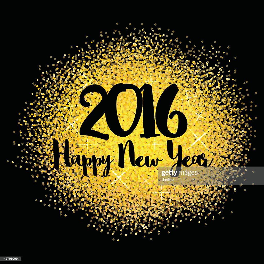 Golden sparkles. 2016 Happy New Year glowing background. Vector illustration