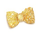 Golden sparkling glitter decorated bow, trendy fashion accessory