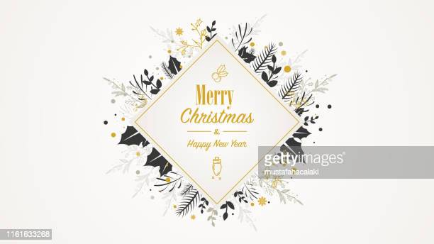 golden square christmas placard with text - grace stock illustrations