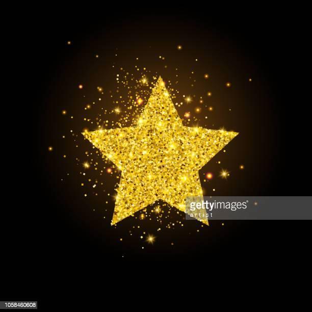 golden star. glitter background. - bling bling stock illustrations, clip art, cartoons, & icons
