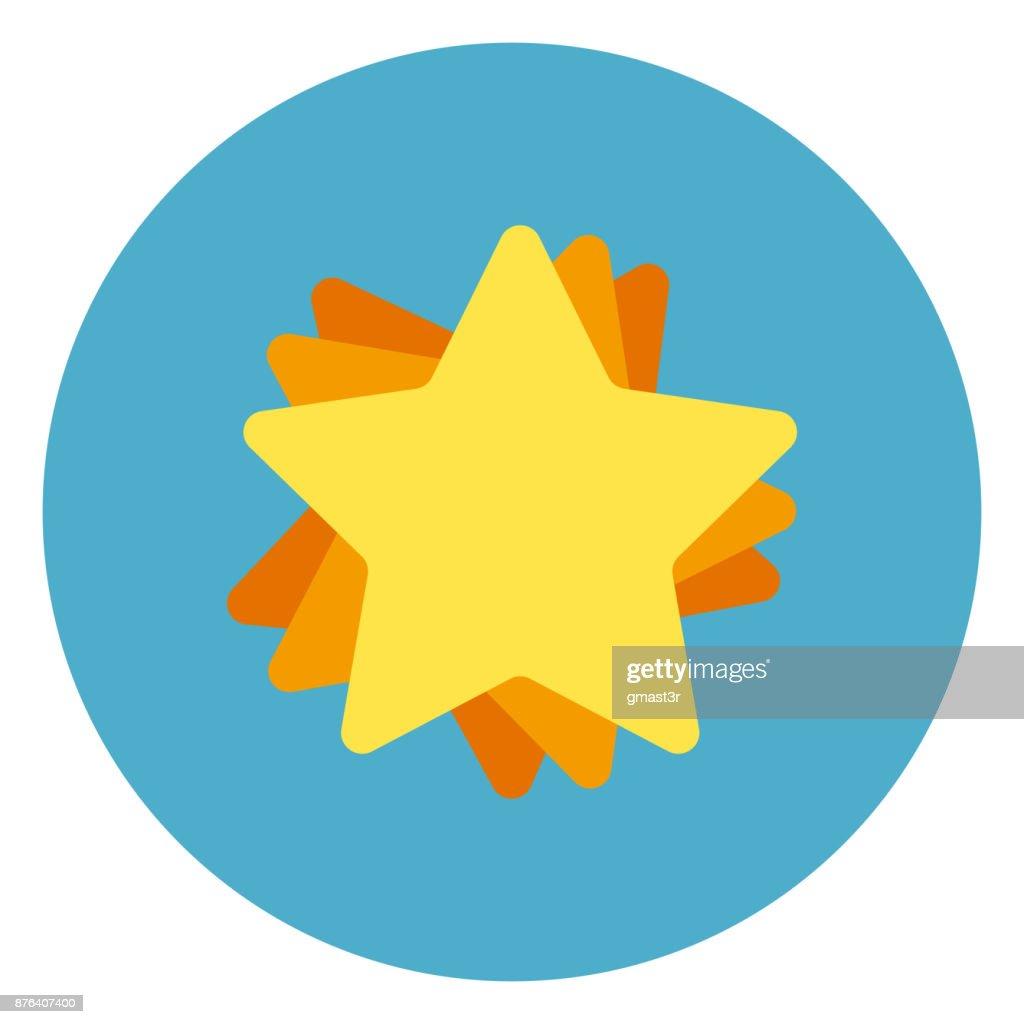 Golden Star Icon On Blue Round Background