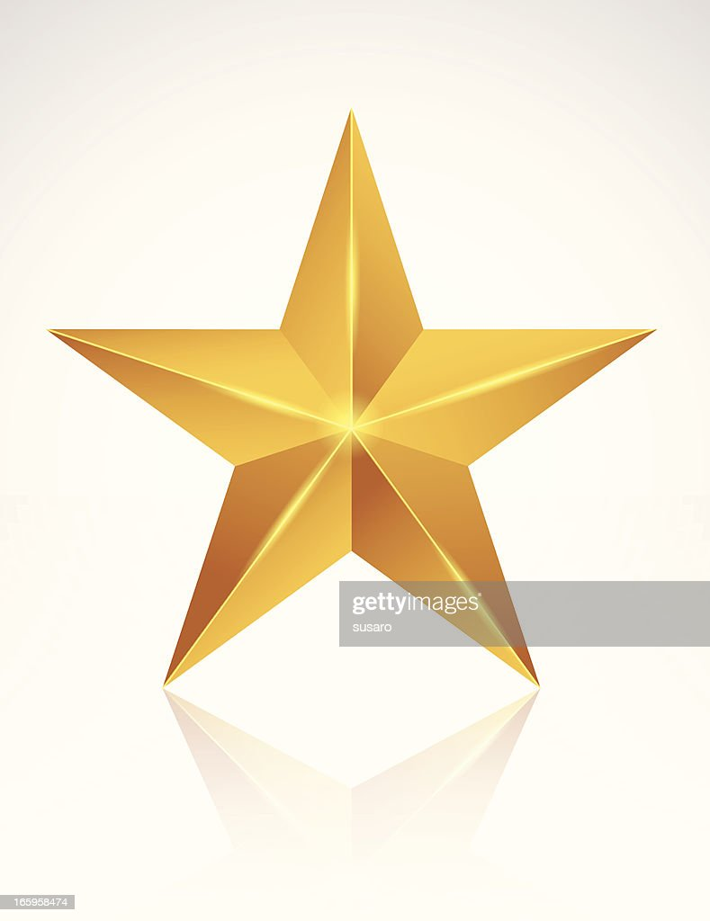 A golden star on a white background