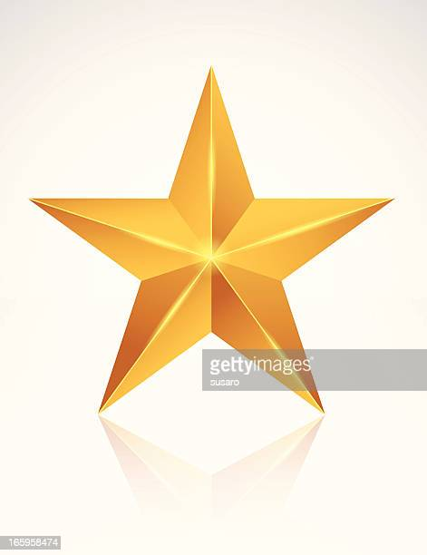 stockillustraties, clipart, cartoons en iconen met a golden star on a white background - beroemdheden