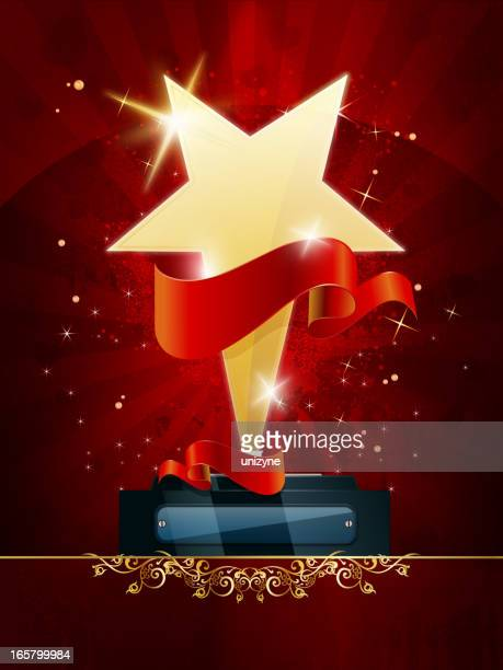 golden star trophy with grunge background - celebrities stock illustrations, clip art, cartoons, & icons
