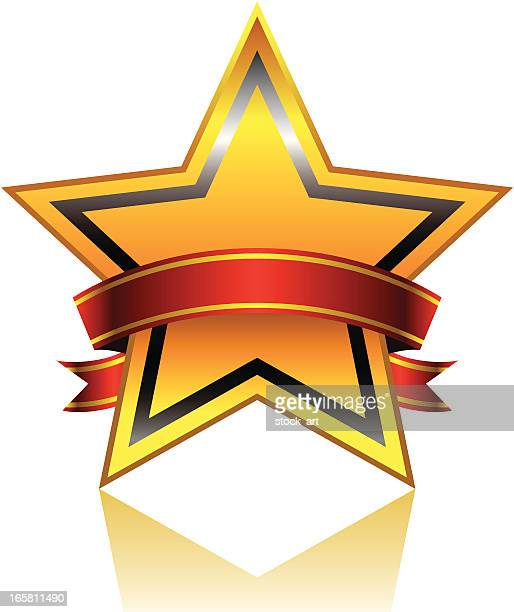 golden star with red ribbon - security pass stock illustrations, clip art, cartoons, & icons