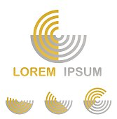 Golden symbol icon design set from half circles