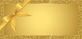 Golden ticket, Gift Voucher, Gift Certificate with sparkle glitter frame background and gold bow (ribbon)