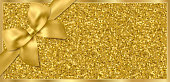 Golden ticket, Gift Voucher, Gift Certificate with sparkle starry glitter background and gold bow (ribbon)