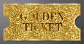 Golden ticket with gold sparkle starry glitter background