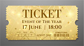 Golden ticket (tear-off coupon) with star magical background
