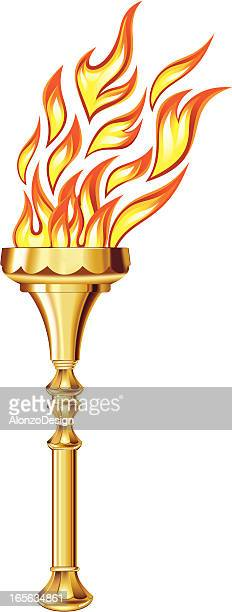 golden torch - sport torch stock illustrations, clip art, cartoons, & icons