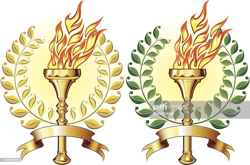Golden torch with laurel : stock illustration
