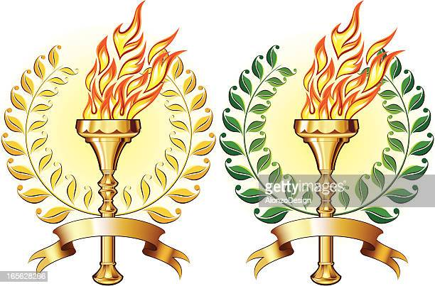 golden torch with laurel - sport torch stock illustrations, clip art, cartoons, & icons