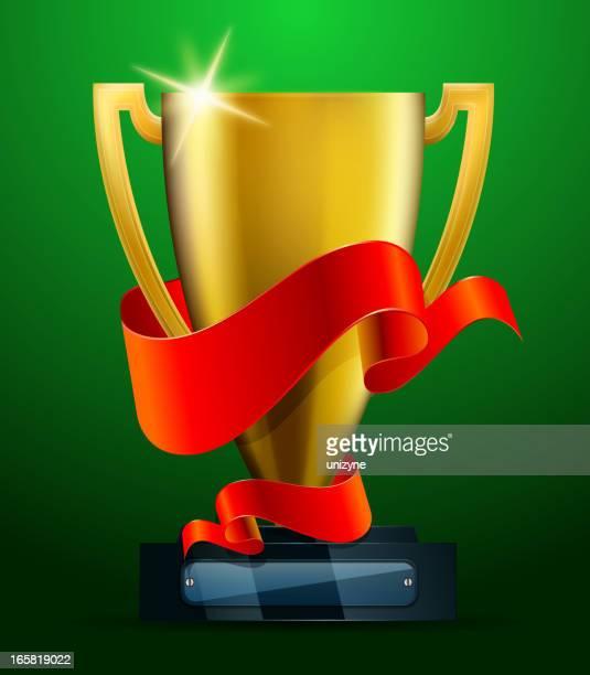 ilustrações, clipart, desenhos animados e ícones de troféu de ouro com banner vermelho - trophy
