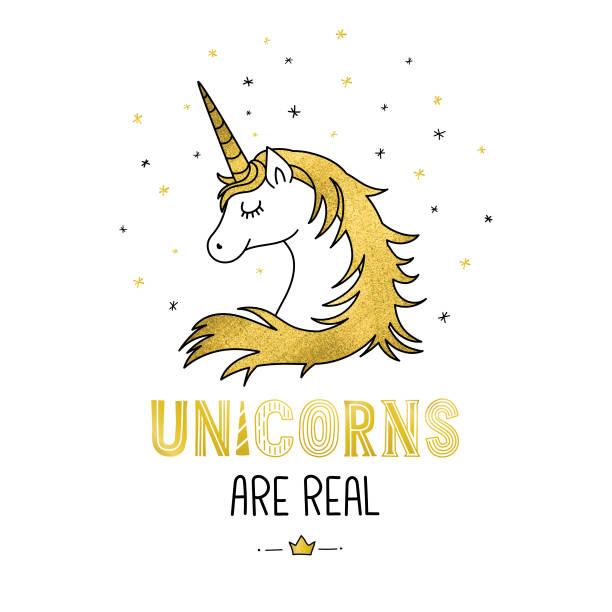 golden unicorn - unicorn stock illustrations