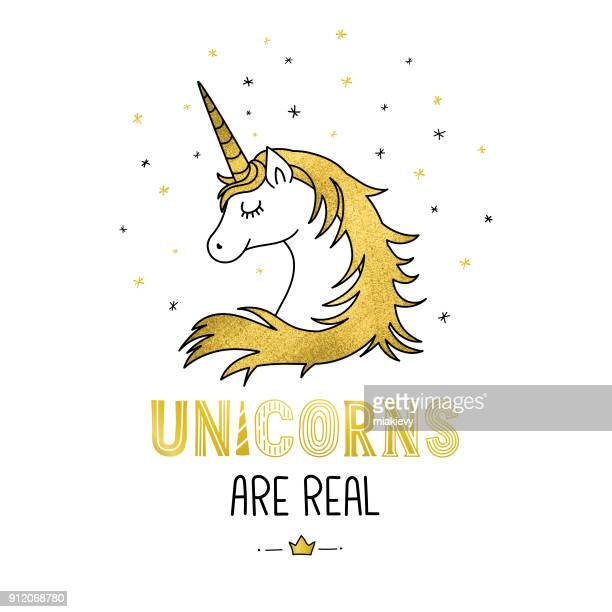 golden unicorn - unicorn stock illustrations