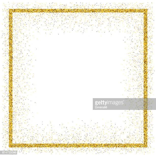 golden vector glitter frame - white background stock illustrations